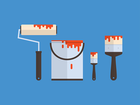 Paint container and brush, flat design