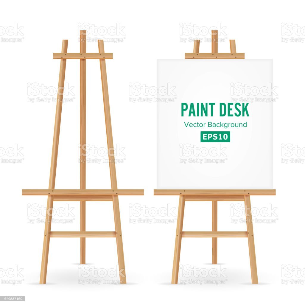 Blank Exhibition Stand Vector : Paint desk vector artist easel set with white paper