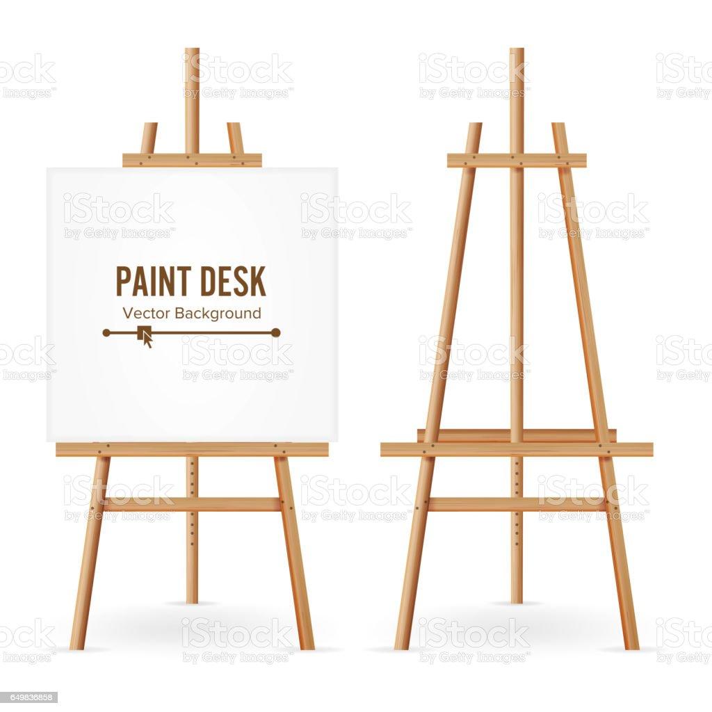 Vecteur de peinture de bureau. Modèle de chevalet en bois avec du papier blanc. Isolé sur fond blanc. Peintre réaliste Desk Set. Espace Web Design - Illustration vectorielle