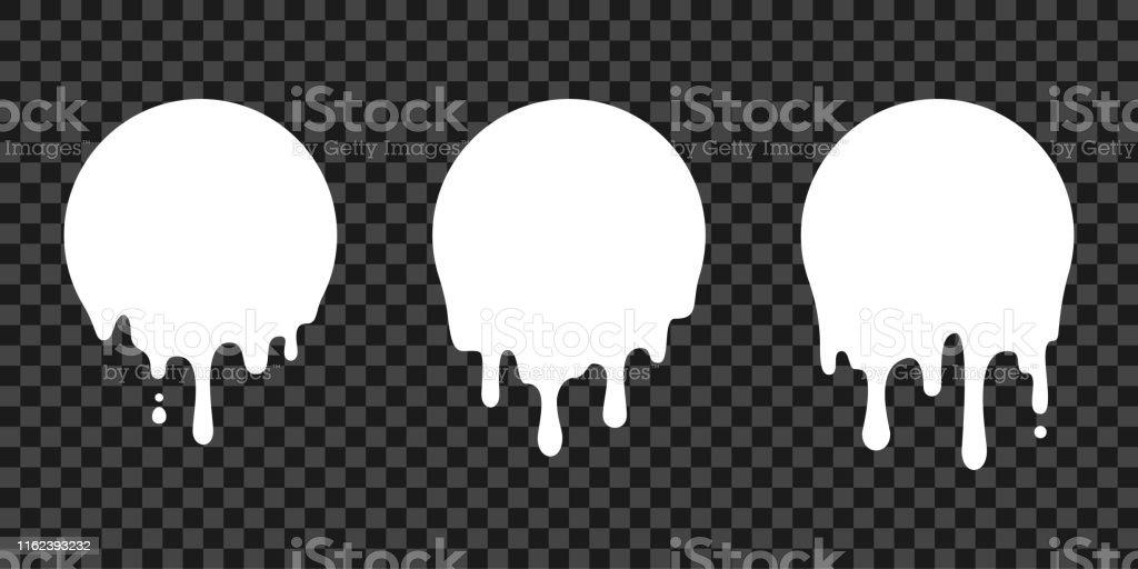 Paint drip stickers, circle white melt drop vector icons. Vector milk circle melt drops, graffiti paint drip blobs - arte vettoriale royalty-free di Acqua