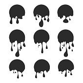 Paint drip stickers or circle labels icon template black color editable. liquid drops symbol vector sign isolated on white background. Simple logo vector illustration for graphic and web design. Vector