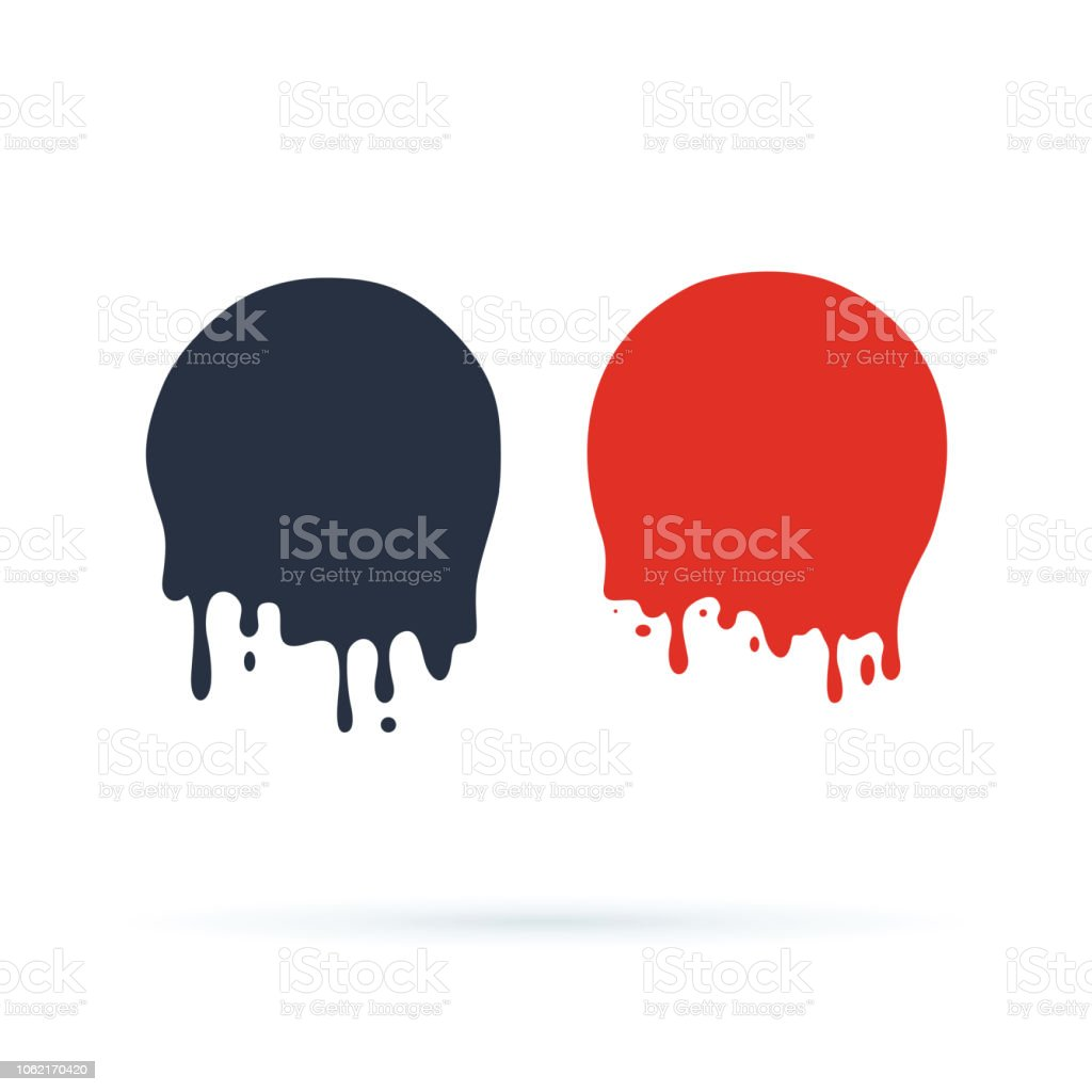 Paint Drip Stickers Or Circle Labels Vector Liquid Drops Icons For