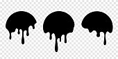 Paint drip stickers or circle labels. Vector liquid drops icons for graffiti blob stickers EPS 10
