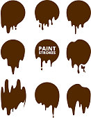 Paint drops and strokes. Vector splashes