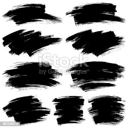 Set of paint brush strokes. Hand draw vector design elements. Isolated grunge brush smears black on white. Painted texture backgrounds