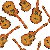 Paint Guitar Seamless Pattern