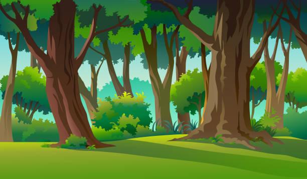 bildbanksillustrationer, clip art samt tecknat material och ikoner med måla illustrationer i vilda och naturliga - forest