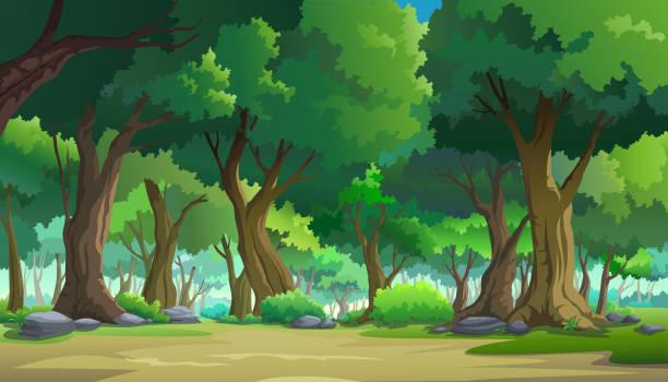 bildbanksillustrationer, clip art samt tecknat material och ikoner med måla illustrationer i naturen och naturliga - forest