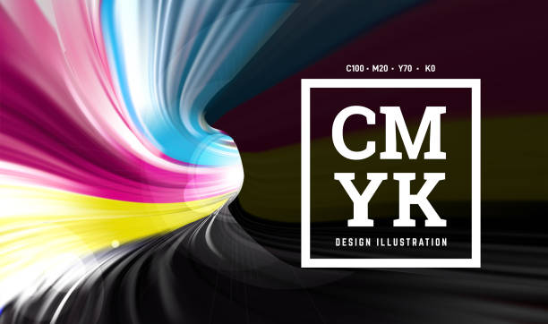 illustrazioni stock, clip art, cartoni animati e icone di tendenza di cmyk paint in the form of a 3d spiral pipe. inside view. vector illustration - cmyk
