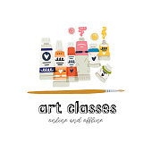 Paint in tubes clipart