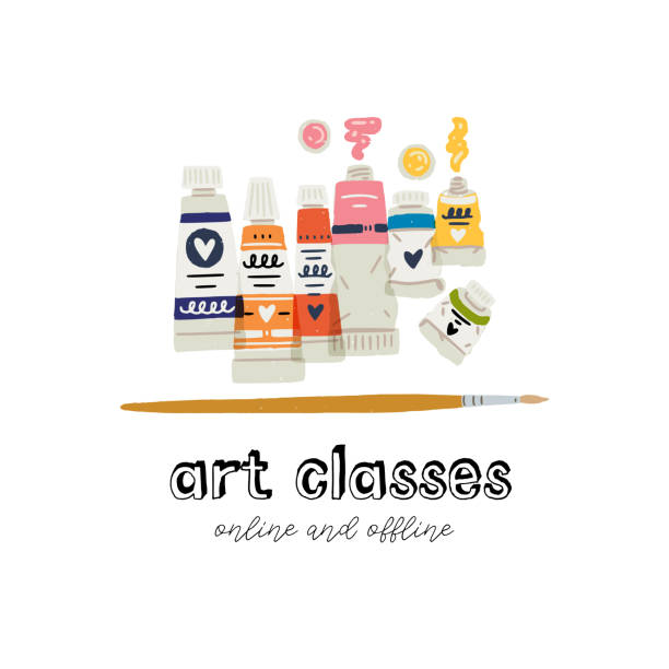 paint in tubes clipart - art class stock illustrations, clip art, cartoons, & icons