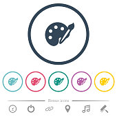 Paint kit flat color icons in round outlines