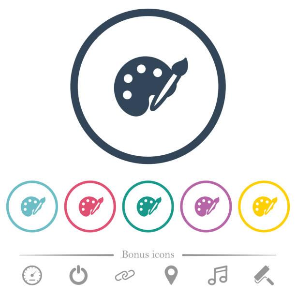 Kit flache farbige Icons in Runde Konturen zu malen – Vektorgrafik