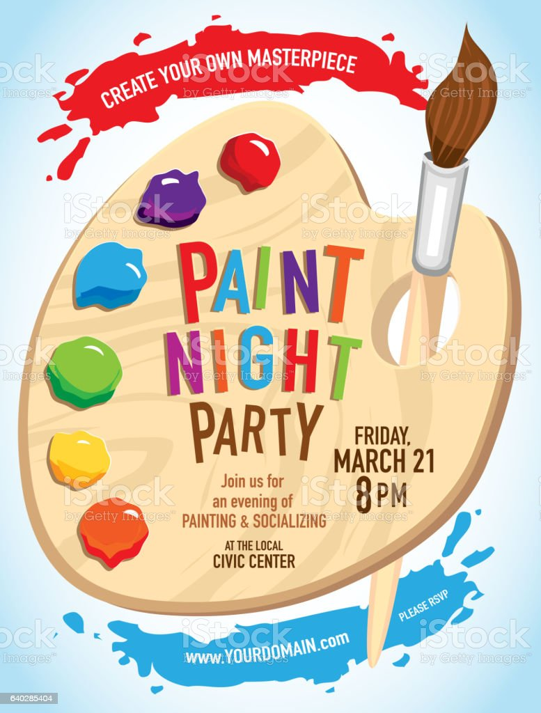 Paint night Party invitation with colorful palette and brush vector art illustration