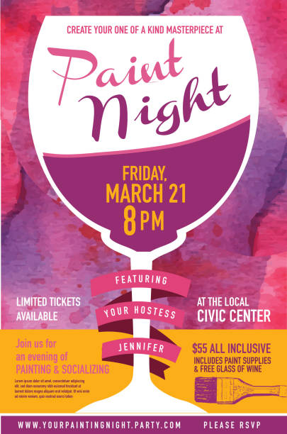 paint night party invitation with wine glass and watercolor texture - nachtparties stock-grafiken, -clipart, -cartoons und -symbole