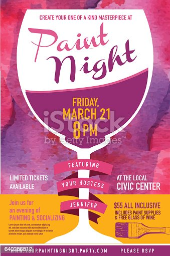 paint night party invitation with wine glass and