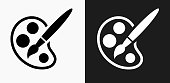 Paint Palette and Brush Icon on Black and White Vector Backgrounds. This vector illustration includes two variations of the icon one in black on a light background on the left and another version in white on a dark background positioned on the right. The vector icon is simple yet elegant and can be used in a variety of ways including website or mobile application icon. This royalty free image is 100% vector based and all design elements can be scaled to any size.