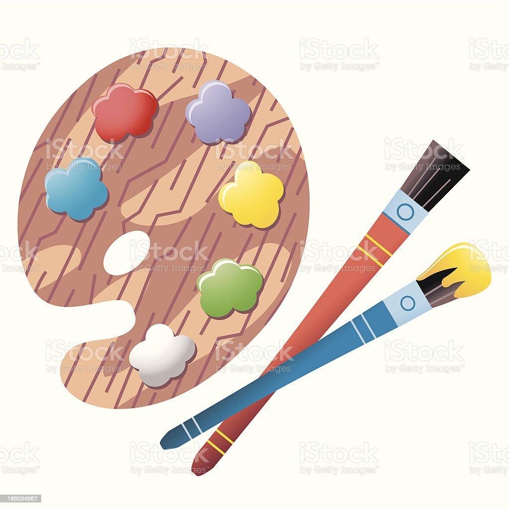 Paint Palette + Brushes royalty-free stock vector art