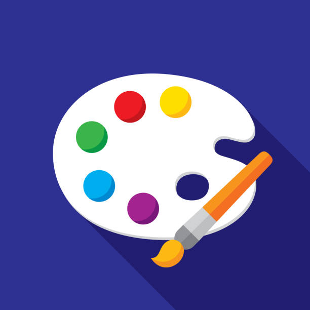 paint palette icon flat - art class stock illustrations, clip art, cartoons, & icons