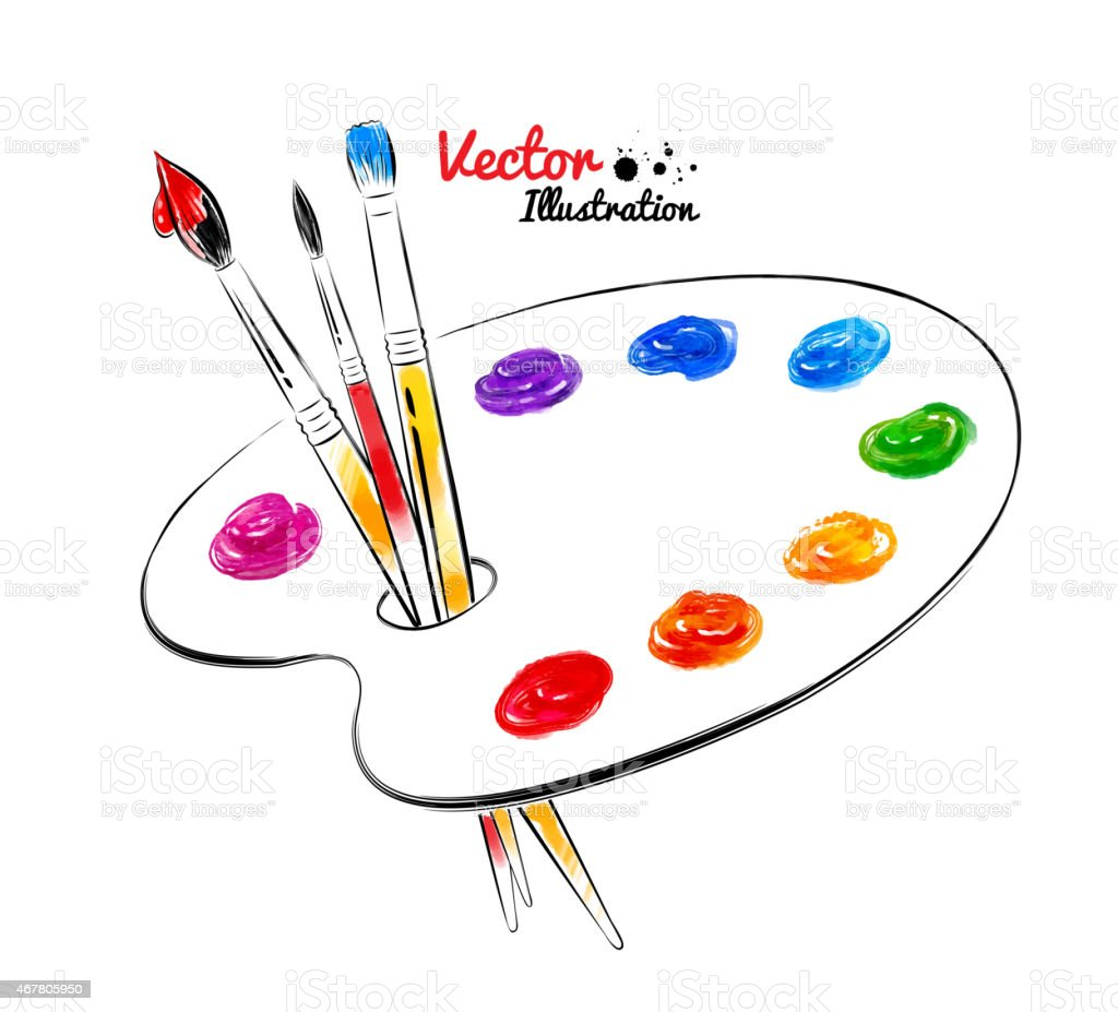 Paint palette. vector art illustration
