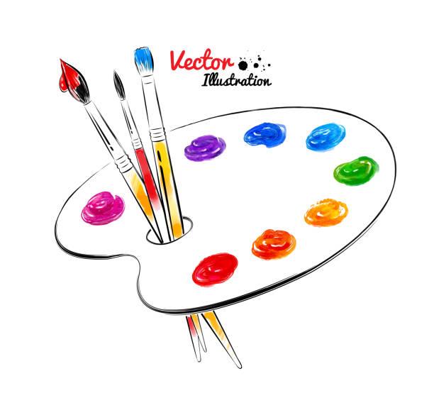 paint palette. - artsy backgrounds stock illustrations