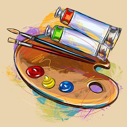 Paint Pallet and Art Meterials