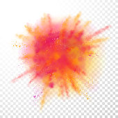 Paint powder explosion on transparent background. Vector bright color paint particles dust explode or splash  for celebration or Holi Indian Hindu holiday colors  festival design element