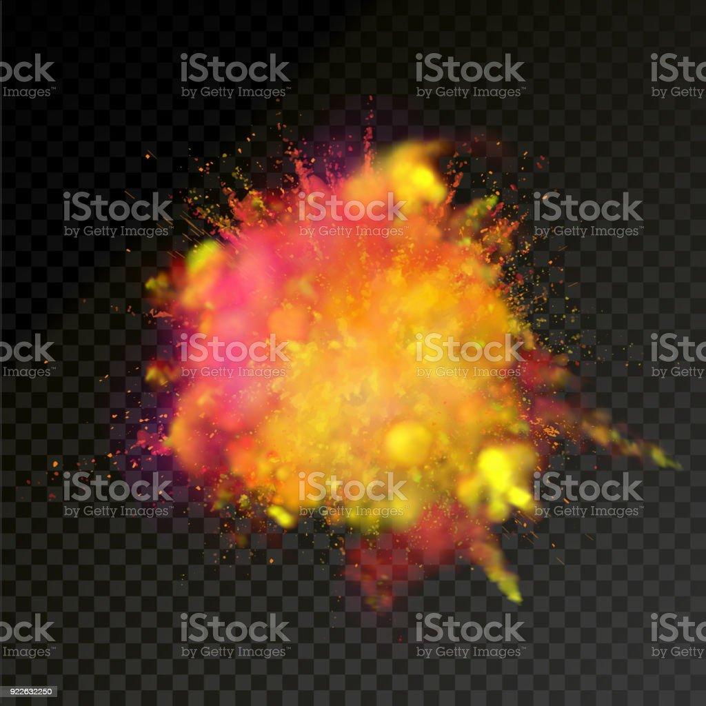 Paint powder explosion on transparent background. Vector bright color paint particles dust explode or splash  for celebration or Holi Indian Hindu holiday colors  festival design element vector art illustration