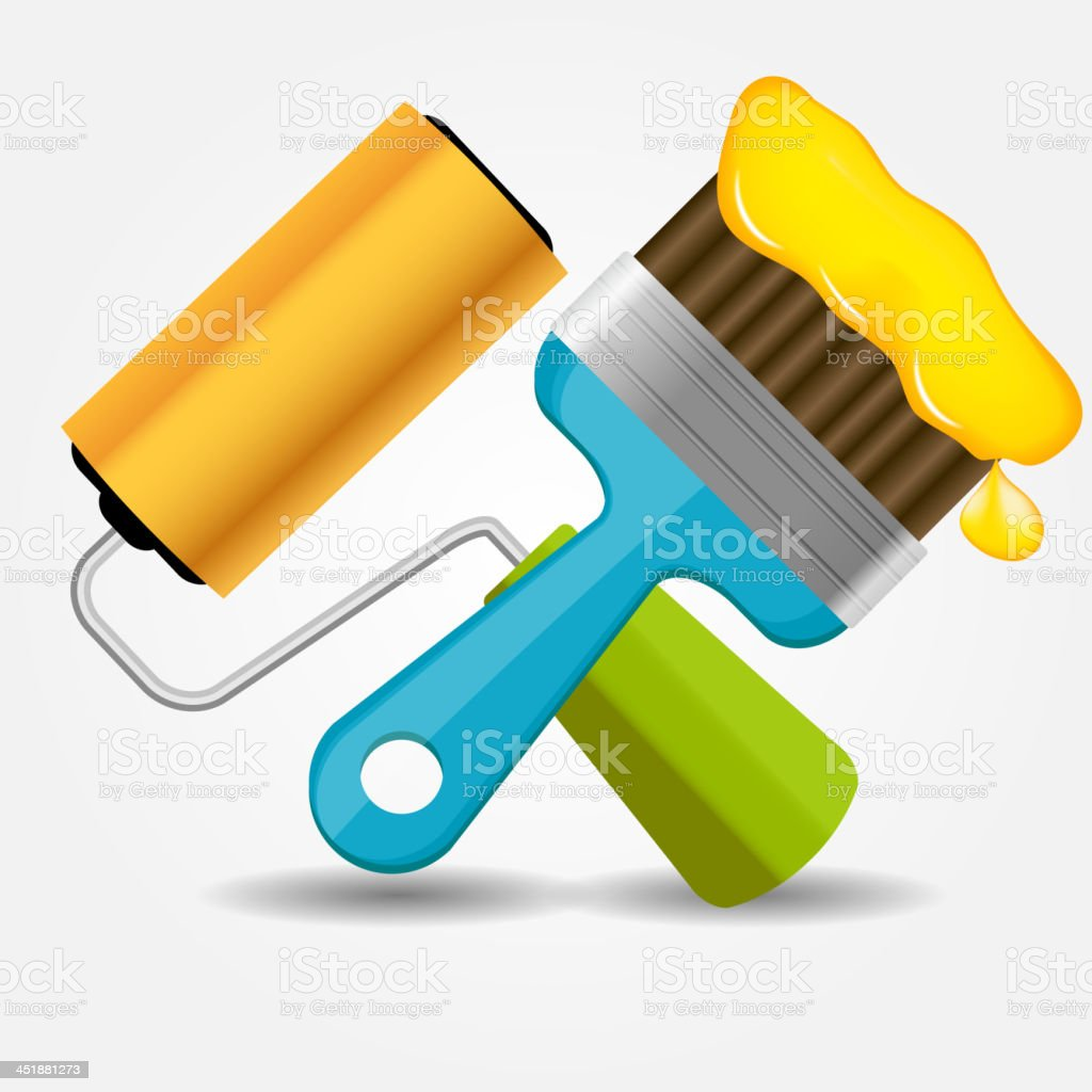 Paint roll and brush icon vector illustration royalty-free stock vector art