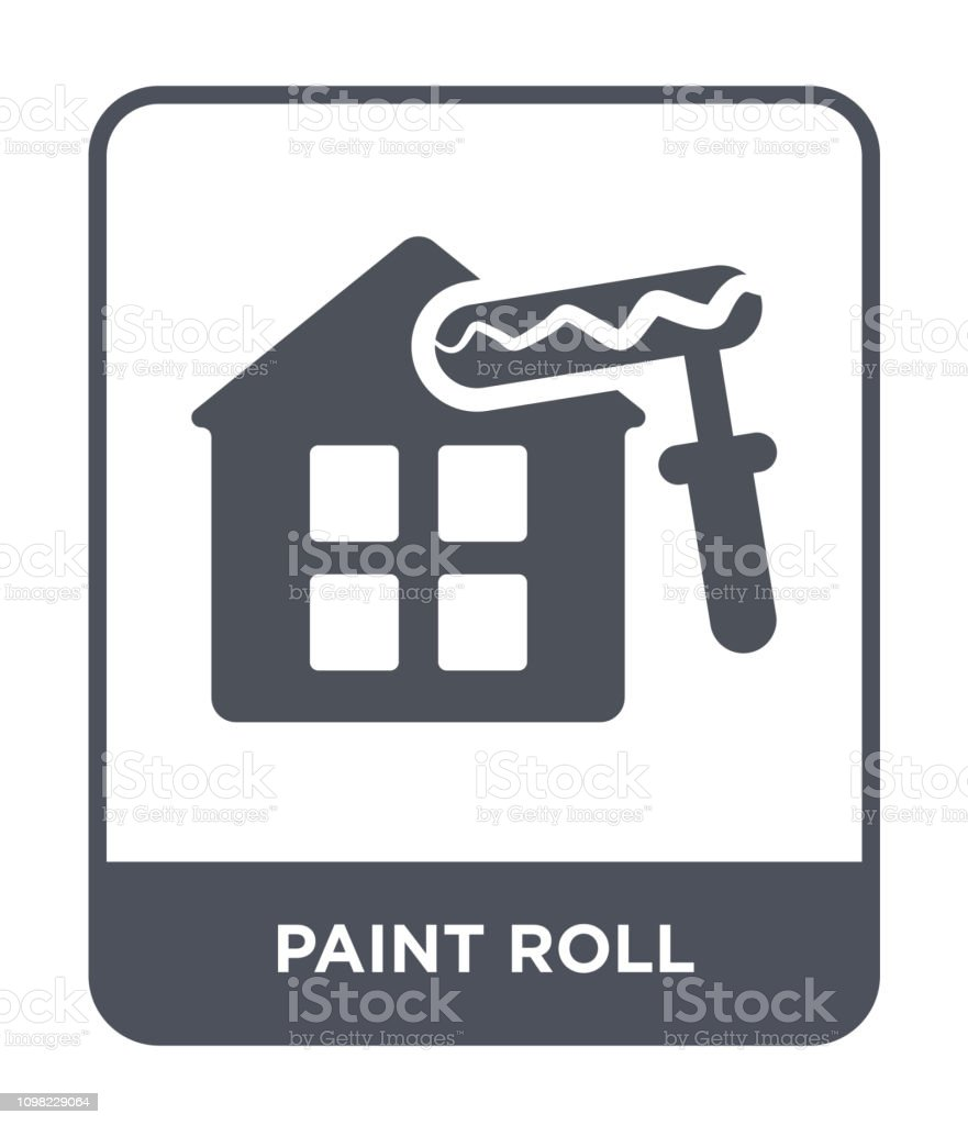 paint roll icon vector on white background, paint roll trendy filled...
