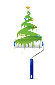 paint roller and christmas tree illustration design over a white background