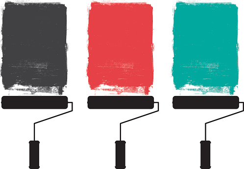 Paint roller and grunge paints