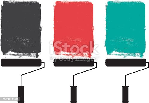 istock Paint roller and grunge paints 492815342