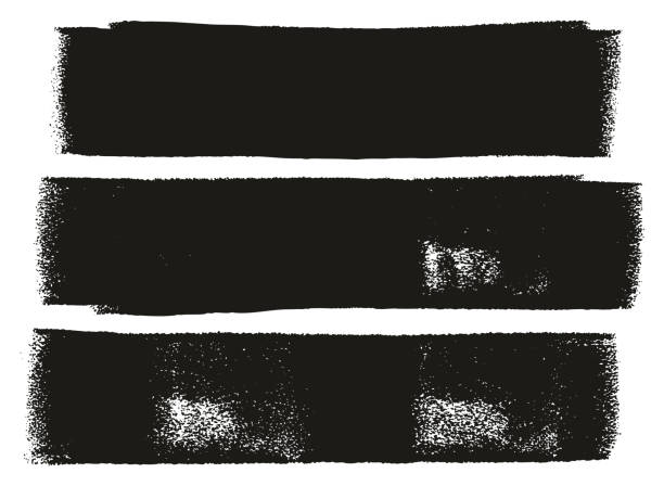 stockillustraties, clipart, cartoons en iconen met verf roller vet lijnen hoge detailregels abstract vector & achtergrond instellen 03 - geërodeerd