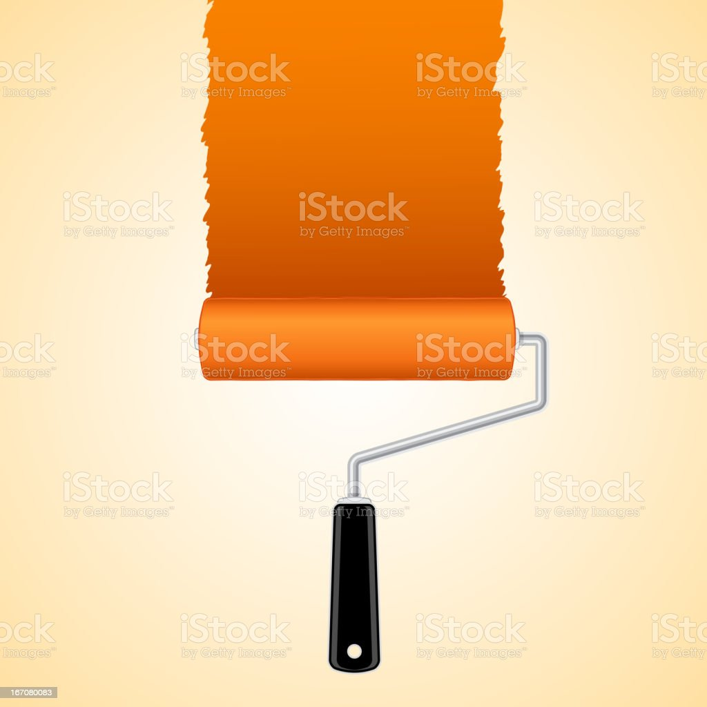 Paint roller brush with orange royalty-free stock vector art