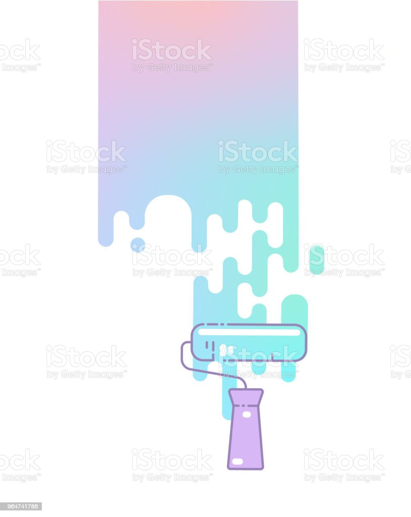 Paint roller colors the wall. royalty-free paint roller colors the wall stock vector art & more images of architecture