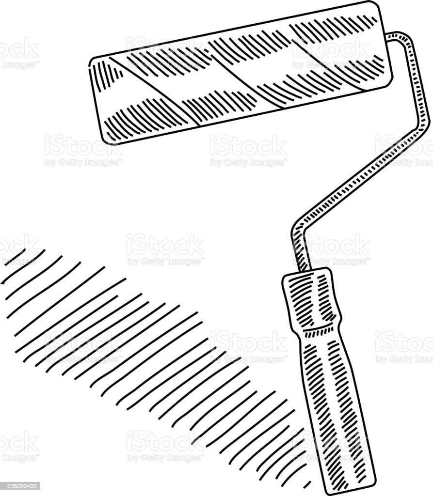Paint Roller Drawing Stock Illustration - Download Image ...