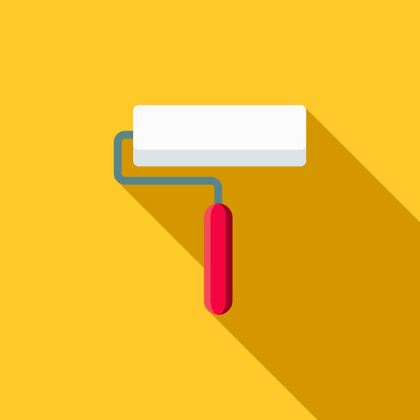 Paint Roller Flat Design Home Improvement Icon A flat design styled home improvement and renovation icon with a long side shadow. Color swatches are global so it's easy to edit and change the colors. paint roller stock illustrations