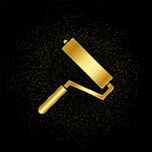 Paint roller gold, icon. Vector illustration of golden particle on gold vector background