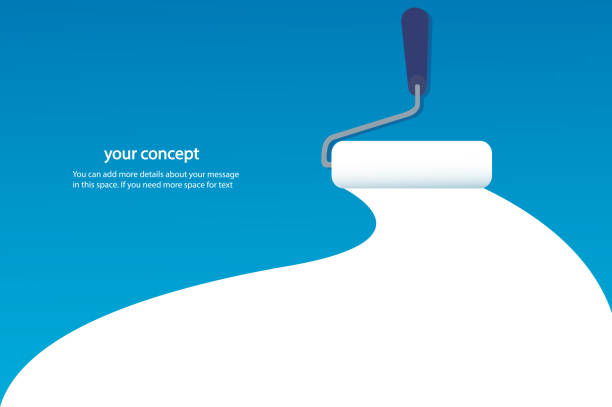 paint roller isolated with space for text and blue background paint roller isolated with space for text and blue background house painter stock illustrations