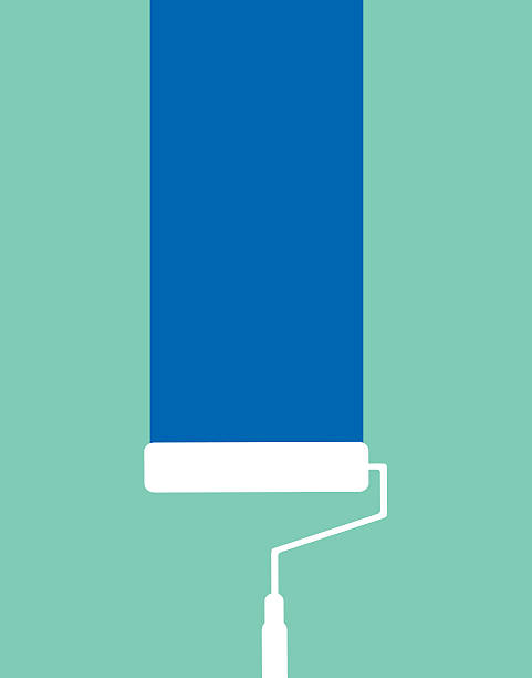 Paint Roller On Wall Vector illustration of a white paint roller rolling blue paint on a wall.    paint roller stock illustrations