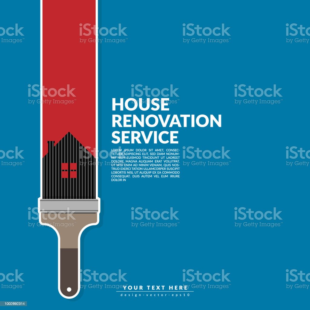 Paint Roller Paint Red Color Over House Logo Isolated On
