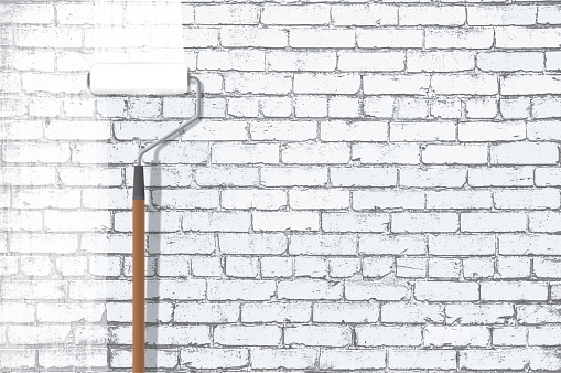 Paint Roller Painting White Grunge Brick Wall