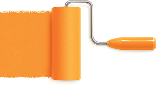 Paint roller Paint roller with orange trace paint roller stock illustrations