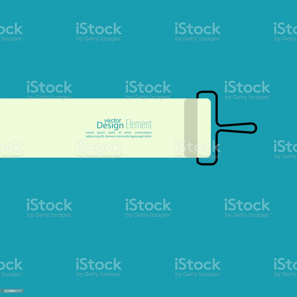 Paint roller with a strip of paint vector art illustration