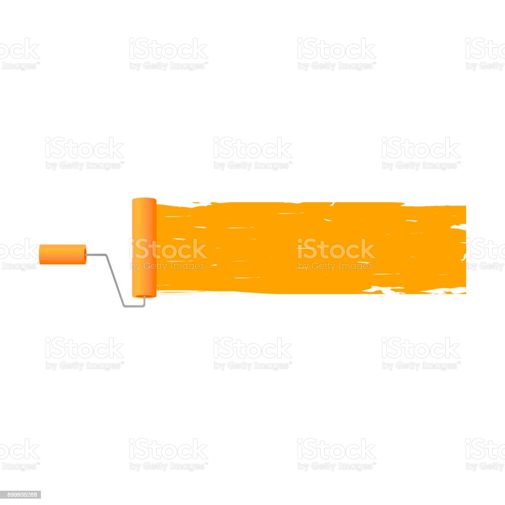 Paint roller with brush line. vector vector art illustration