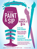 Vector illustration of a Paint sip night Party invitation with wine glass and brushes.