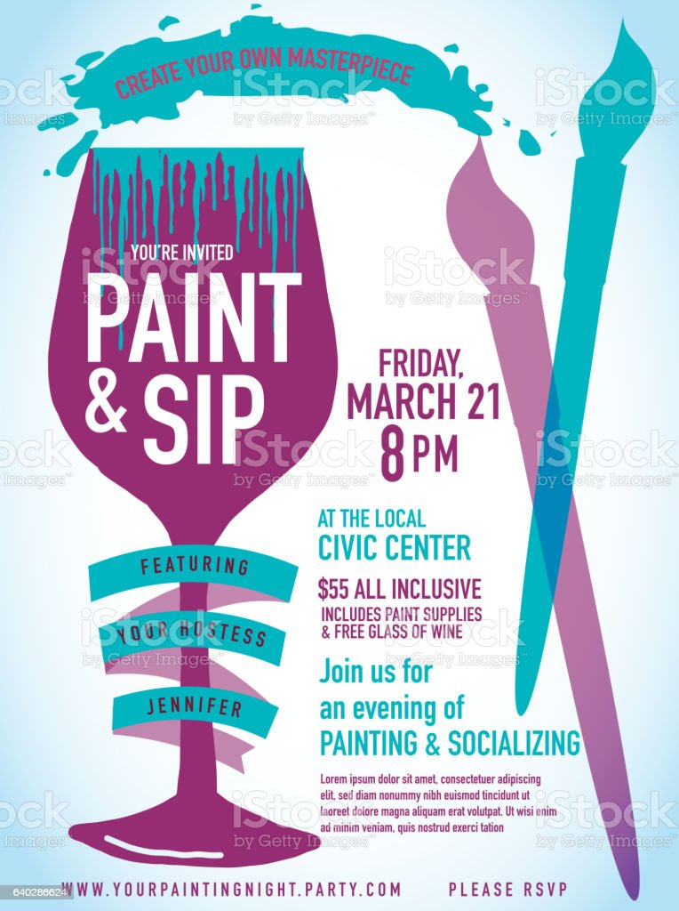 Paint Sip Night Party Invitation With Wine Glass And Brushes Stock ...