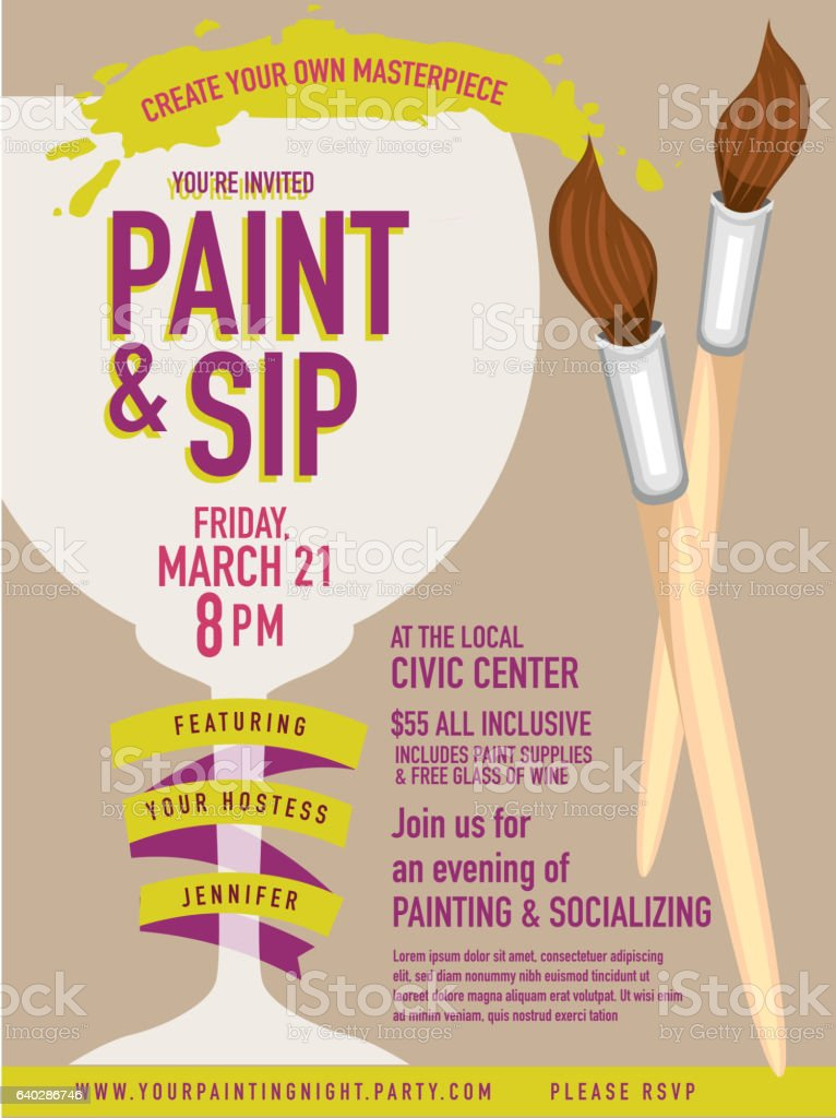 Paint Sip Night Party Invitation With Wine Glass And ...