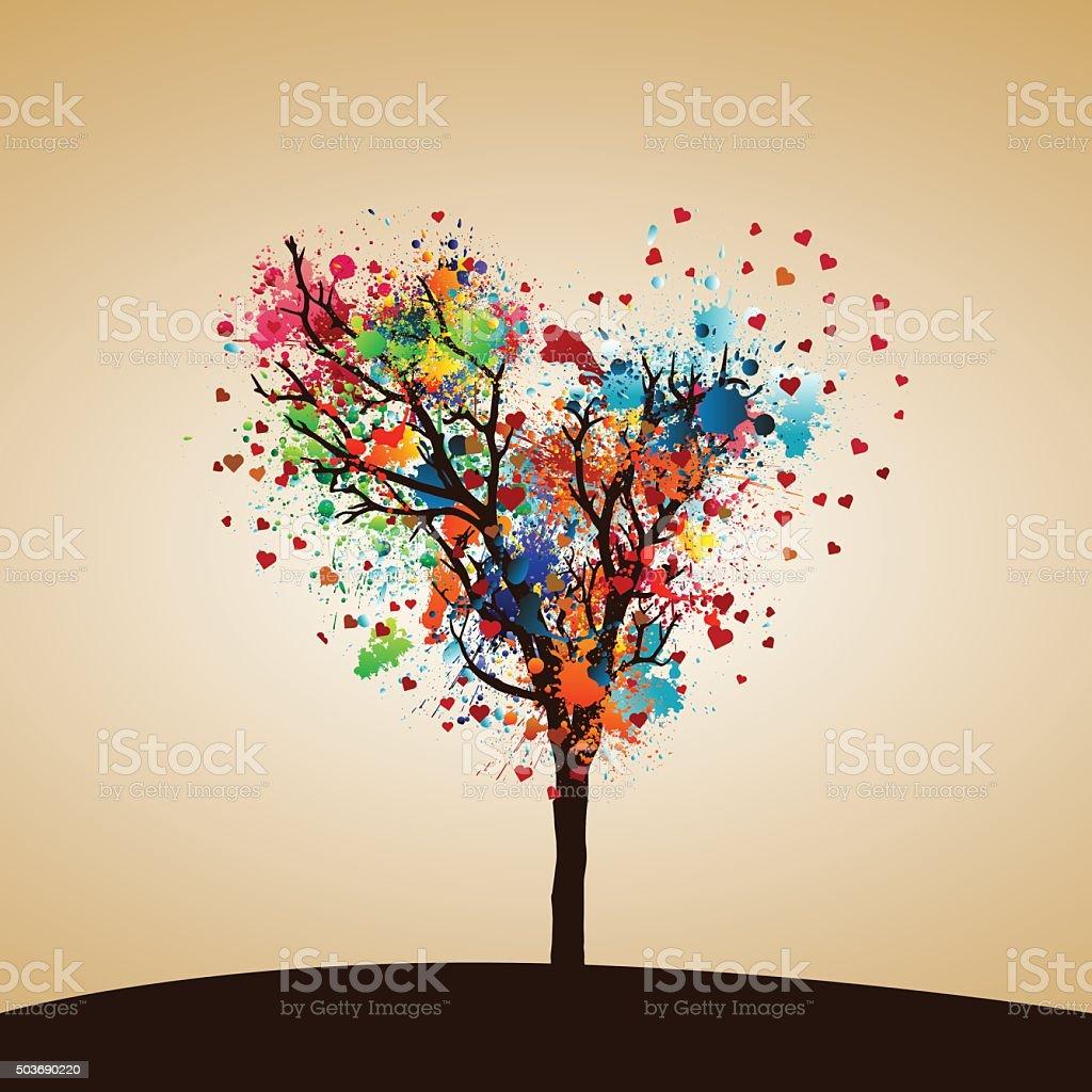 Paint splash tree vector art illustration